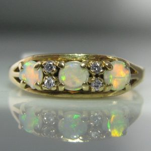 Opal And Diamond 9k Gold Ring