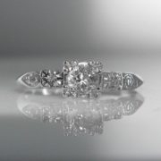 Solitaire Diamond Ring 14k White Gold