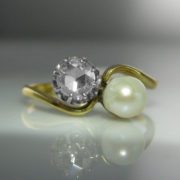 Rose Cut Diamond And Pearl Ring