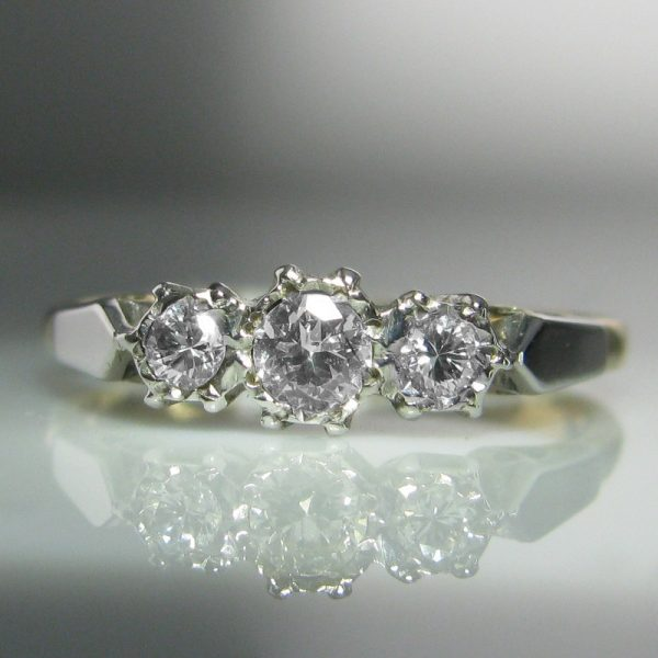18k Gold And Platinum Three Stone Diamond Ring
