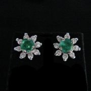 Emerald Diamond Gold Earrings, Emerald Errings, Fine Jewellery, The Antiques Room, Galway