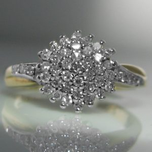 Vintage Diamond Cluster Ring 9k Gold