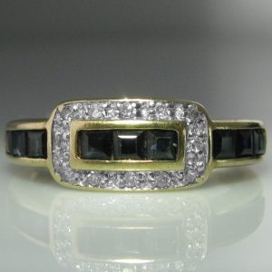 Diamond and Sapphire Buckle Ring