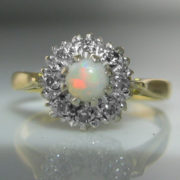 Vintage Opal And Diamond Ring 18k