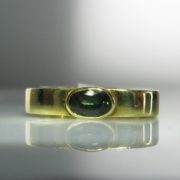 Rare Green Sapphire Ring in 18k Gold