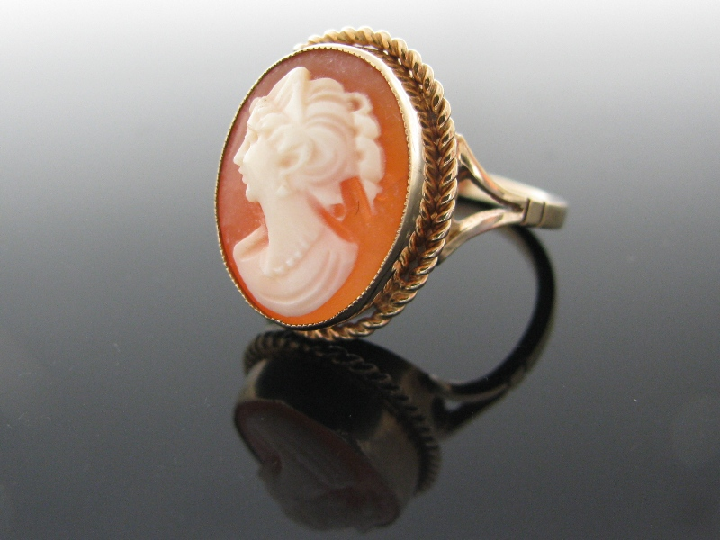 Sold vintage cameo ring the antiques room vintage 9k gold cameo ring aloadofball Choice Image