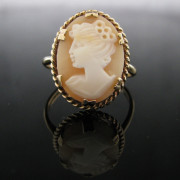 Vintage Cameo Ring 9K Gold