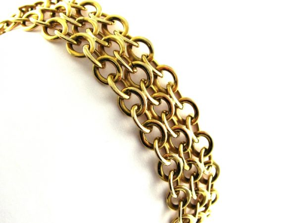Vintage 14k Gold Three Row Link Bracelet