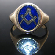 Gents Masonic Signet Ring 9k Gold