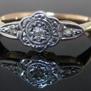 Antique Art Deco Cluster Ring 9K Gold