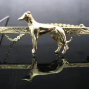 Greyhound Dog Brooch 9k