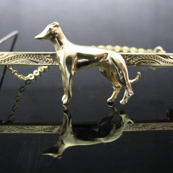Greyhound Dog Brooch 9k