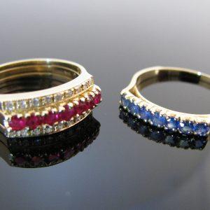 Diamond Ruby Sapphire Interchangeable Ring