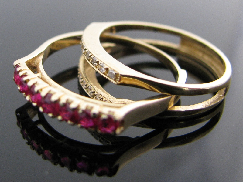 Vintage Diamond Ruby Amp Sapphire Inter Changeable Ring 14k