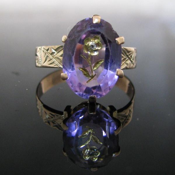 Rare Amethyst Diamond Ring 9K Gold