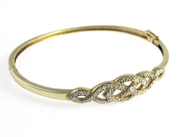 Vintage Gold Diamond Bangle in 9k