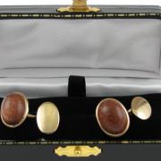 Gents 18k Gold Cufflinks set with Coral Gemstone