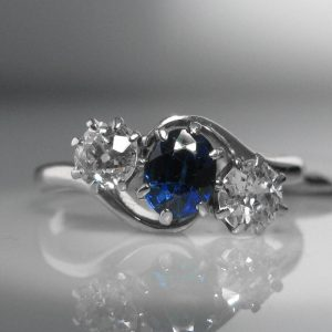 Antique Diamond And Sapphire Ring In Platinum, Sapphire Ring, Fine Jewellery, Jewellery Shop, Jewellers, Galway