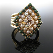 Diamond and Peral Ring 14K Gold