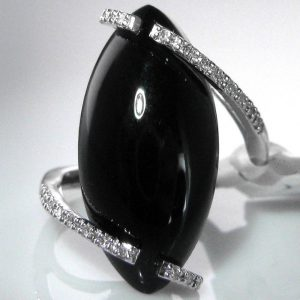 Black Onyx And Diamond Cocktail Ring