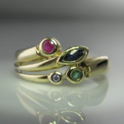 9k Gold Emerald, Sapphire, Diamond and Ruby Ring, The Antiques Room, Jewellery, Antiques, Galway, West of Ireland