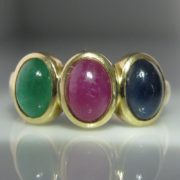 Sapphire, Emerald and Ruby Cabochon Ring