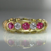Diamond and Ruby Bridge Ring 14k Gold