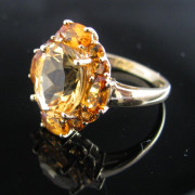 Golden Citrine Ring 9K Gold