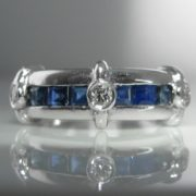 Diamond Sapphire Ring 18k White Gold