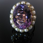 Edwardian style Amethyst and Pearl Ring