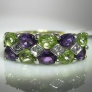 Amethyst, Diamond and Peridot Ring