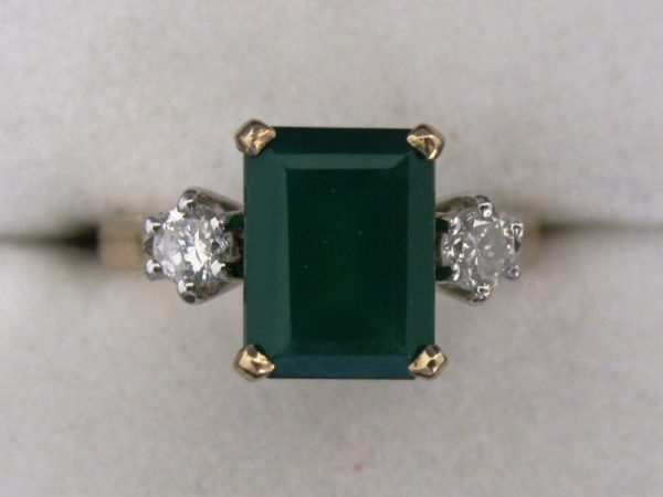 Diamond And Green Agate Ring 9K Gold