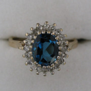 Vintage Blue Topaz Diamond Ring 9K
