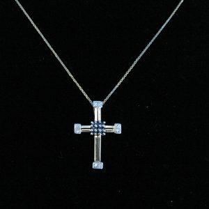 Vintage Sapphire Diamond Cross Pendant