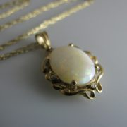 Opal and Diamond Pendant, Opal necklace, Gold necklace, Jewellers, Galway, Ireland