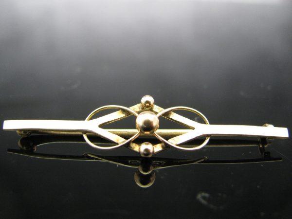 9K Gold Bar Pin Brooch