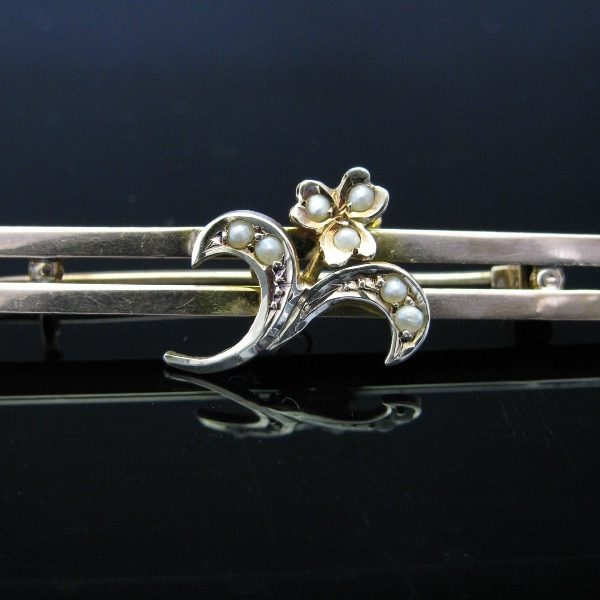 Antique Edwardian Pearl Bar Pin Brooch
