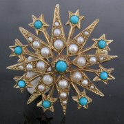 Turquoise and Seed Pearl Star Brooch