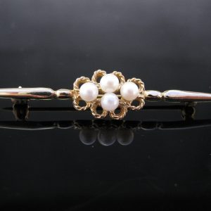 Edwardian 9K Gold Pearl Brooch