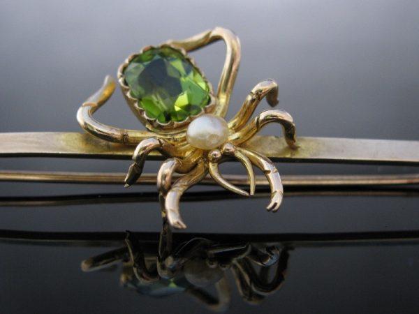 Victorian Gold Spider Brooch Peridot & Pearl