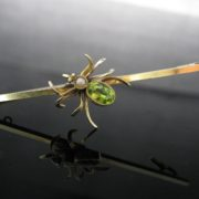 Peridot & Pearl Insect Brooch