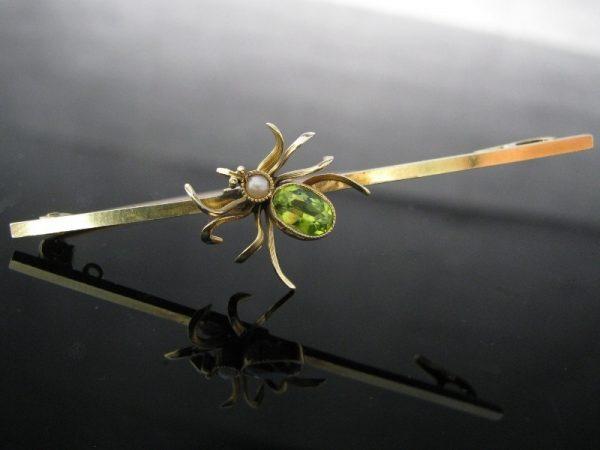 Peridot & Pearl Insect Brooch