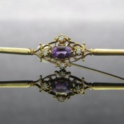 9K Gold Diamond and Amethyst Bar Brooch