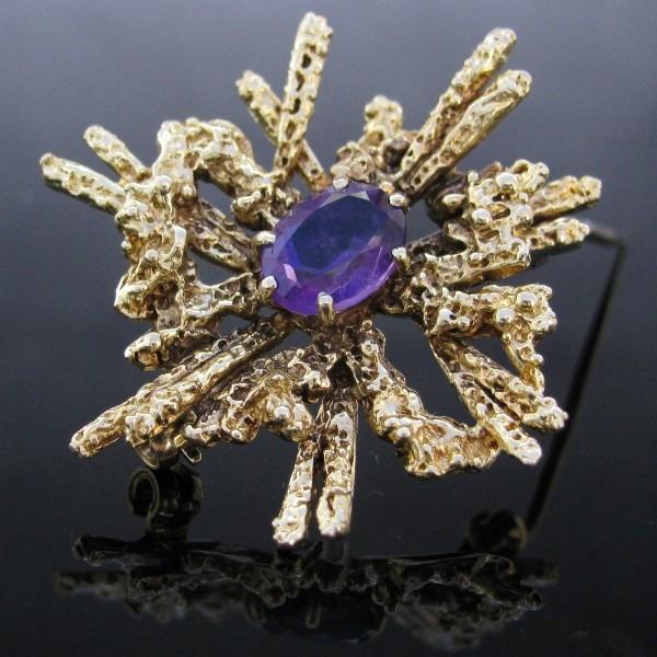 Vintage Purple Topaz Brooch