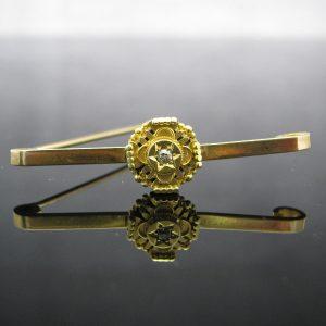 Antique Etruscan 9k Gold Diamond Brooch