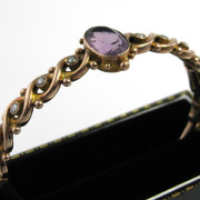 Antique 9k Rose Gold Bangle With Amethyst