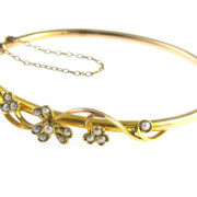 Victorian Gold Bangle with Seed Pearls