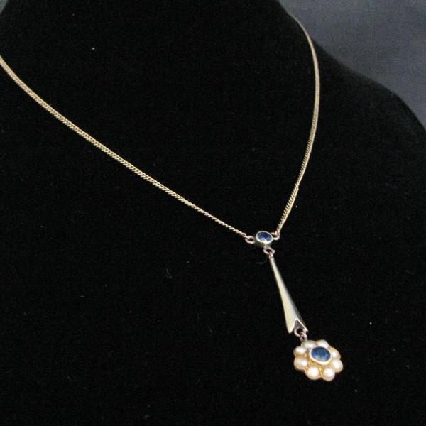 Vintage Sapphire Pearl Lavalier Gold Pendant