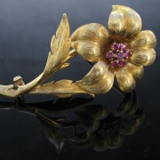 1960's Flower Brooch with Rubies