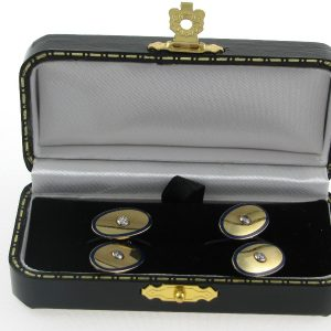 Gents 18k Gold Enamel Diamond Cufflinks